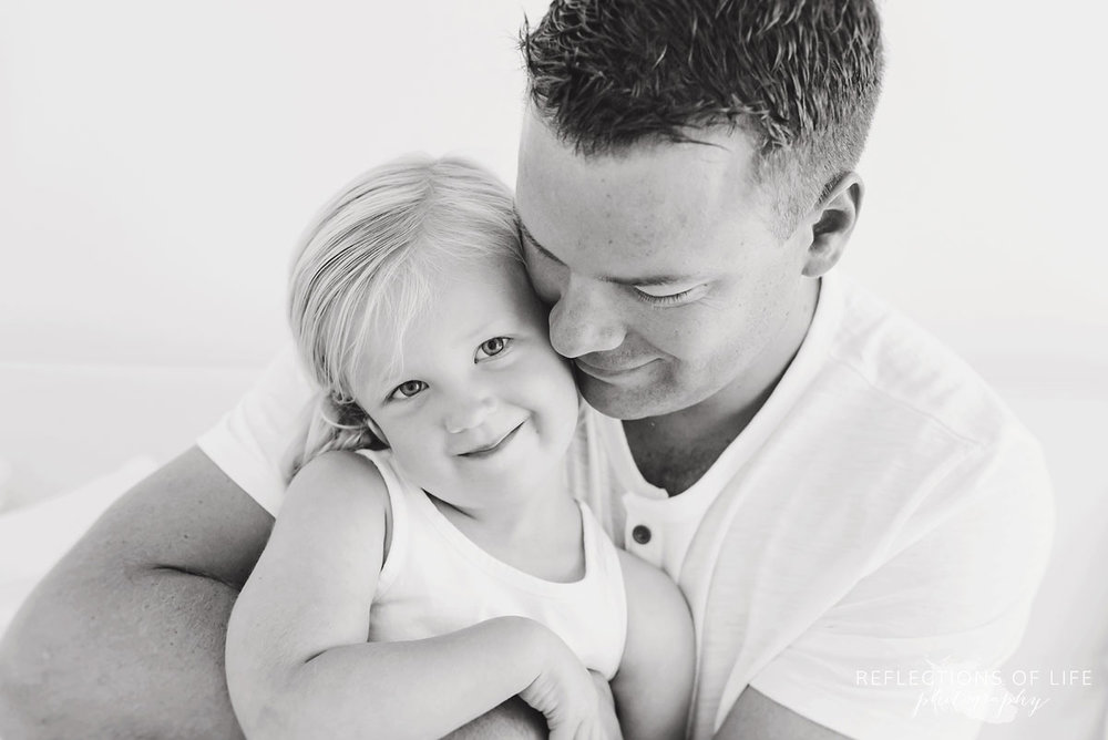 Father and daughter black and white in Grimsby Ontario