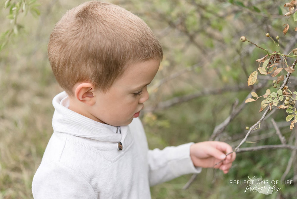 014 young boy looking at a tree branch