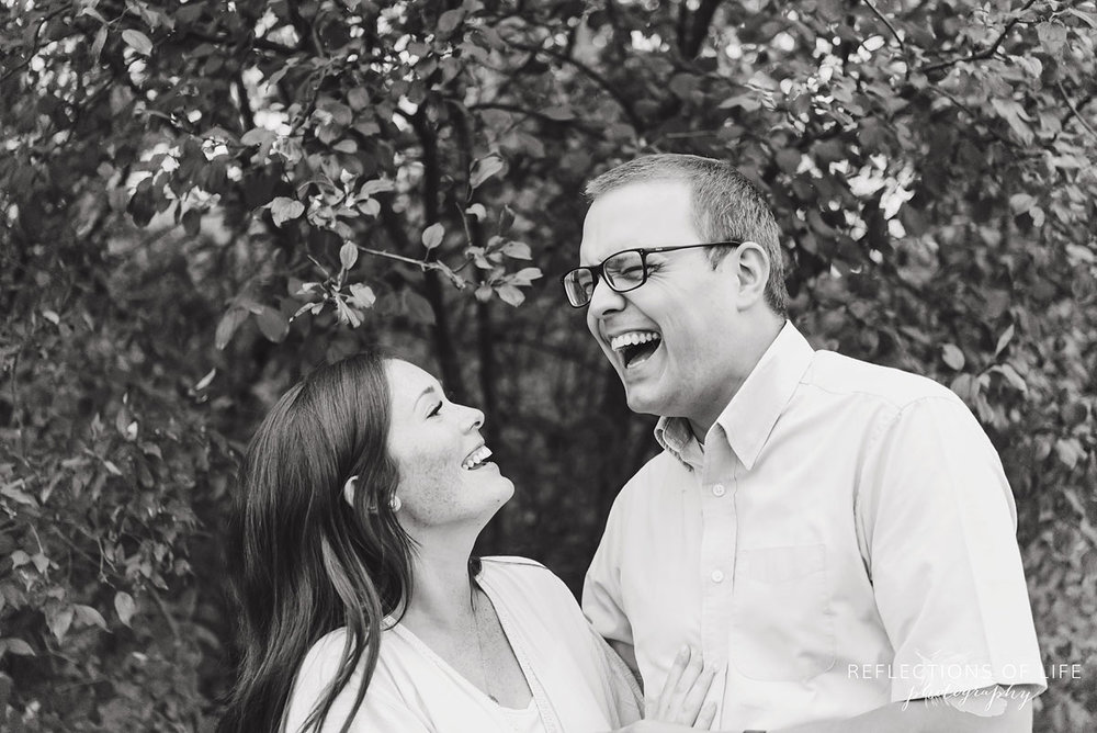 018 black and white of couple laughing
