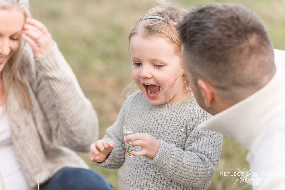 little girl with open mouth in happiness
