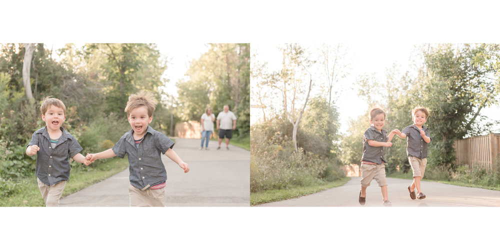 little boys running on pathway