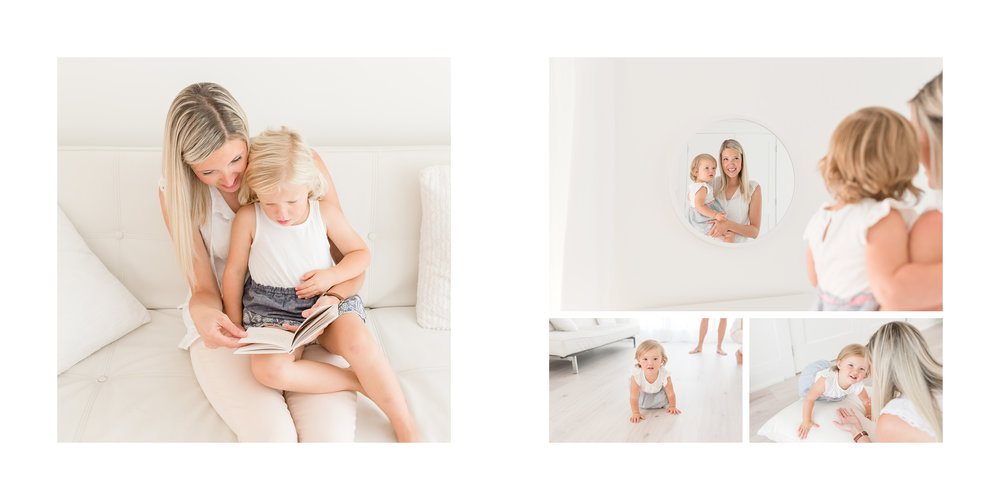 Mother and daughter white studio