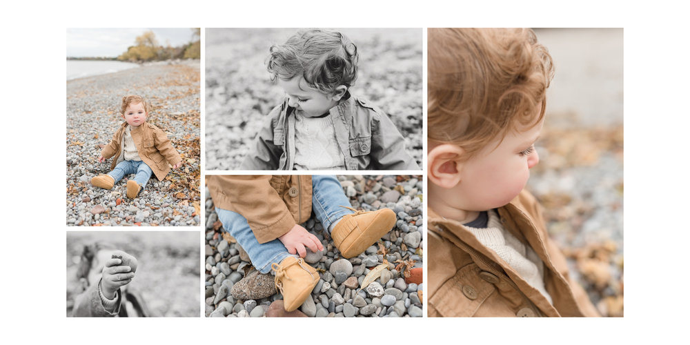little one playing with rocks on the beach
