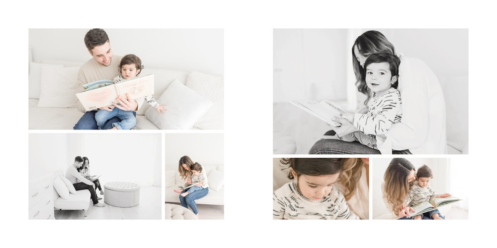 family reading on white couch