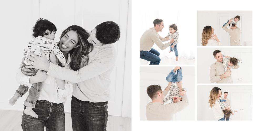 family hugging in studio