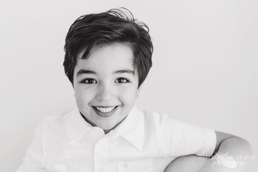 little boy black and white portrait