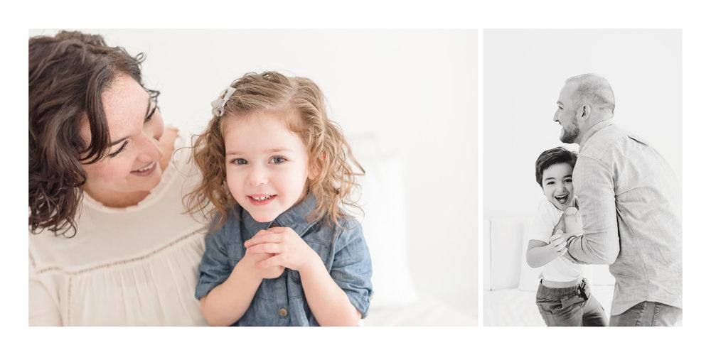 family loving in white studio