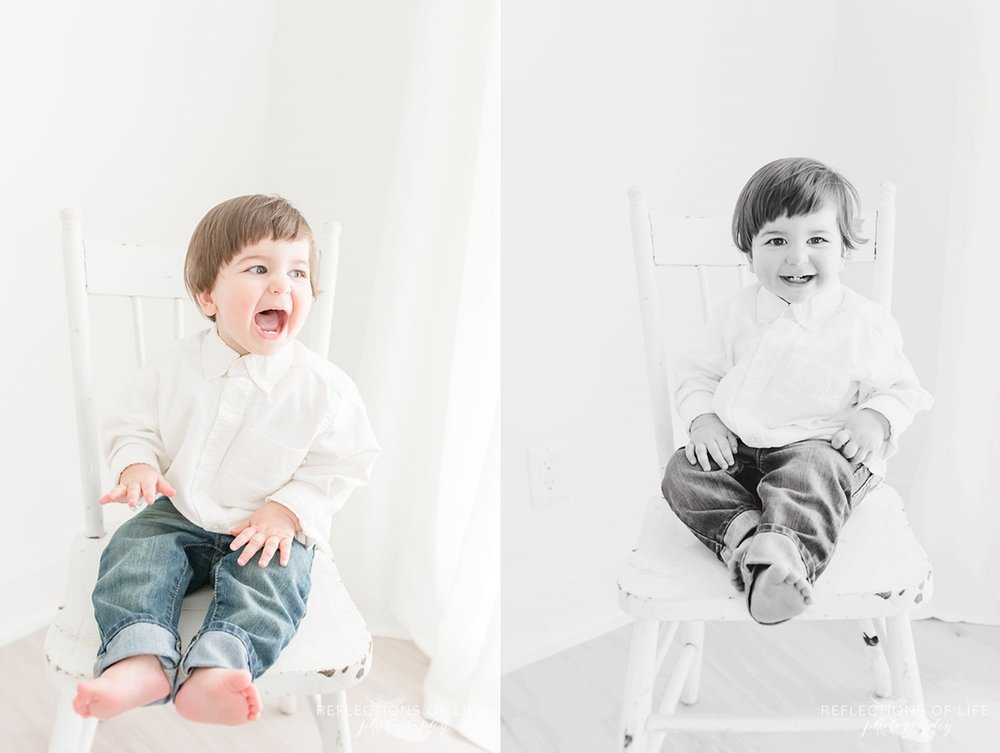 Little boy laughing on chair