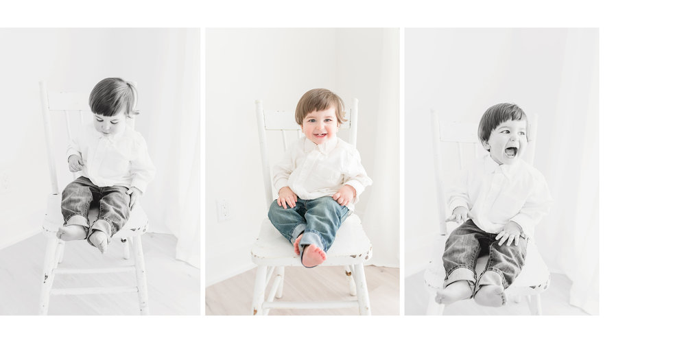 Little boy sitting on white chair