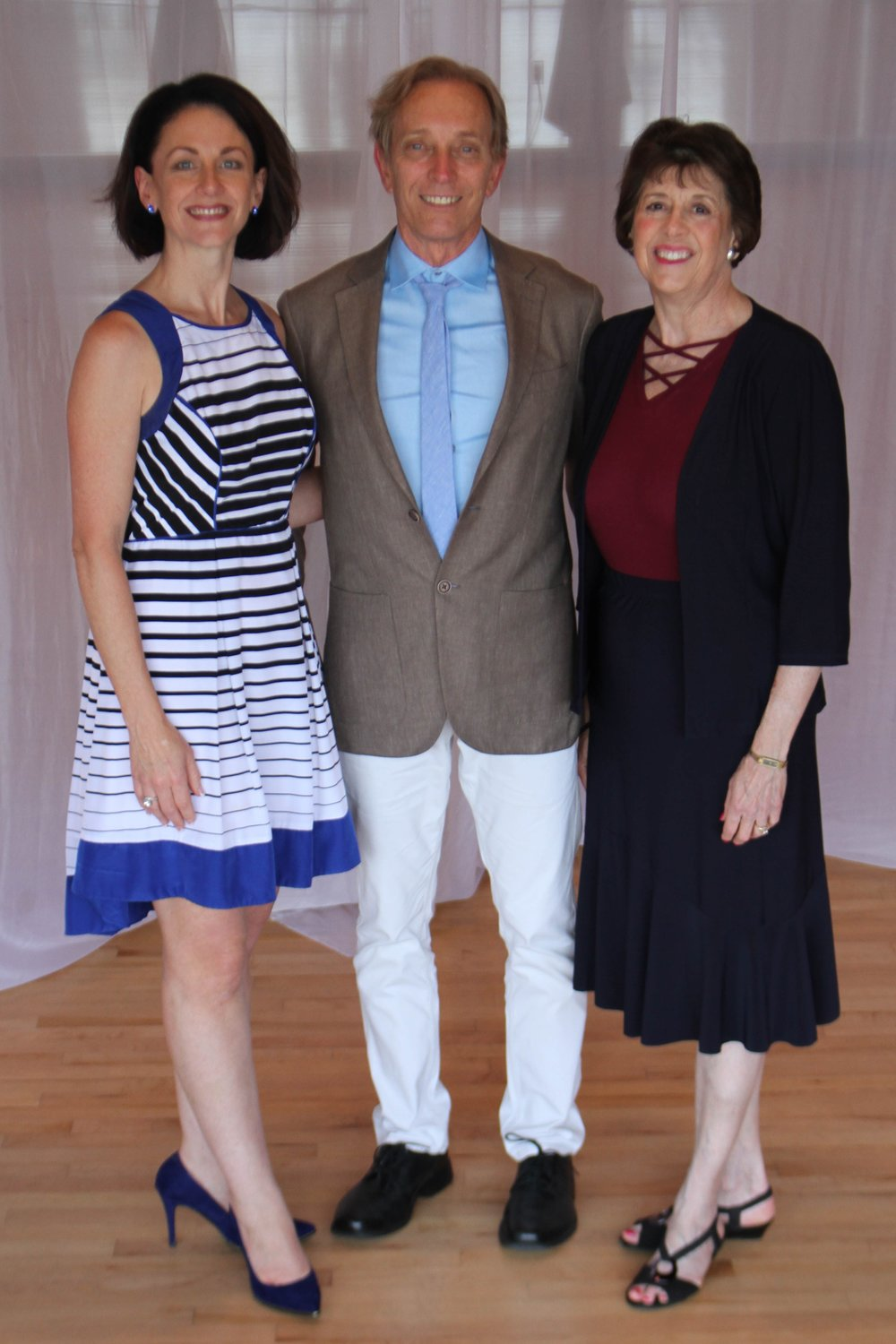 dennis yelkin, chairman of the board for heart of dance, with andrea mirenda (left) and ember reichgott junge (right) co-founders and co-presidents
