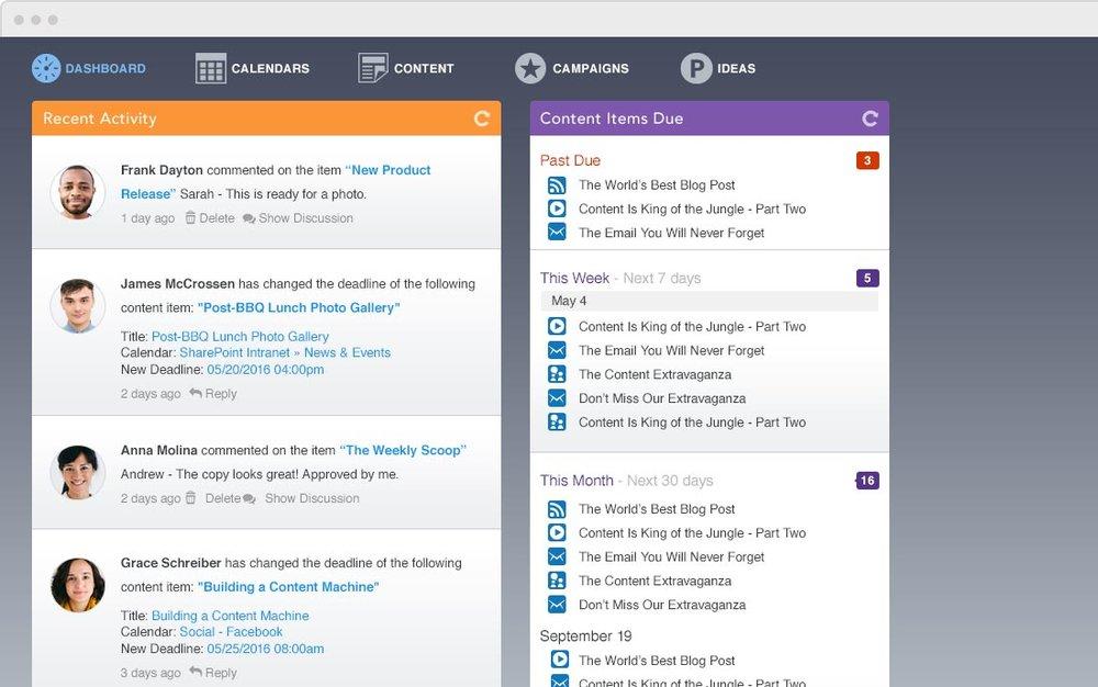 content calendar dashboard