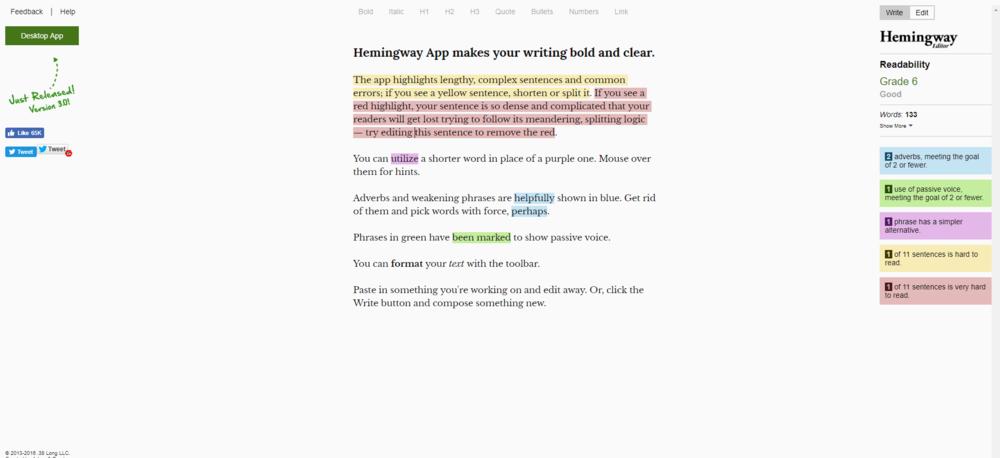 hemingway writing analysis tool