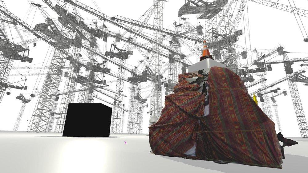 Asma Kazmi,  Cranes and Cube , 2017. Virtual reality.