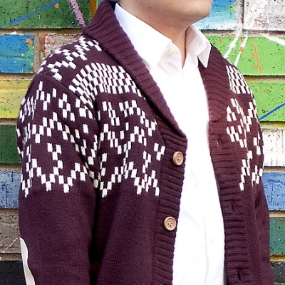 This heavy cardigan in a bold pattern is the essence of fall style