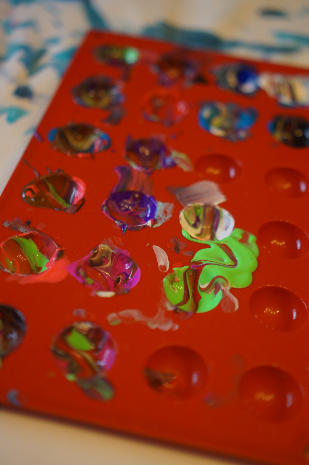 Silicone candy molds make for great paint trays.