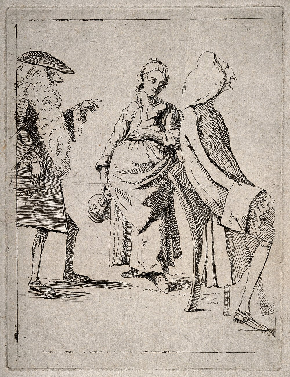 """""""A man wearing a ridiculously long wig pointing accusingly to a young pregnant woman, another man sits with his back to them."""" 