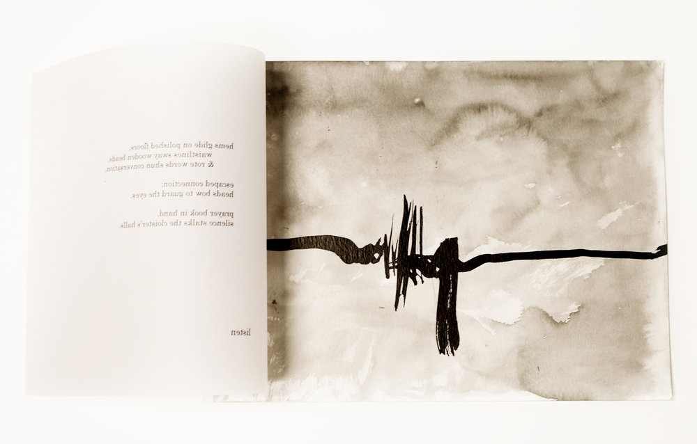 """""""Graced in Sacred Ground: The Hour of Forgiveness,"""" 2015, poems by Nicole De Leon, paintings by Yohana Junker, ink on paper, 15x10in"""