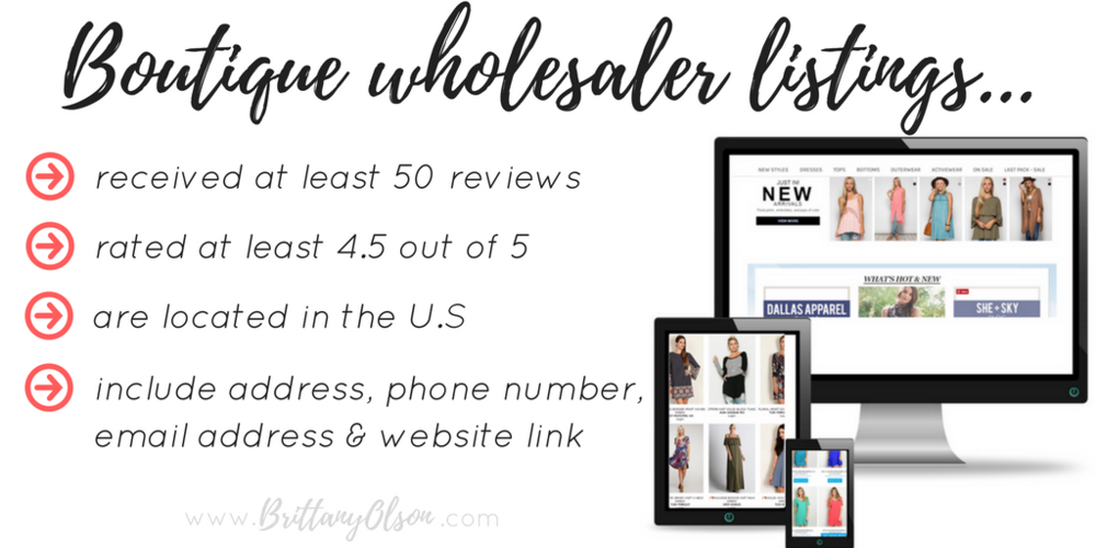 Boutique Fashion Wholesalers Master List - Instant | Brittany Olson