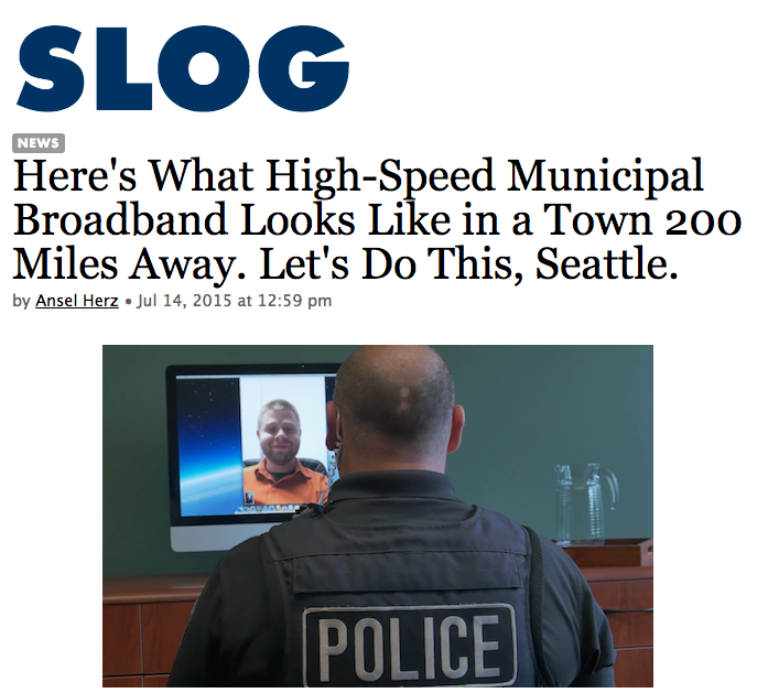 Wondering what a city wired with its own democratically controlled fiber internet network looks like? Look no further than the town of Sandy, 30 miles outside of Portland, where subscribers get gigabit speed connections from the city for $60 per month.  (read more).
