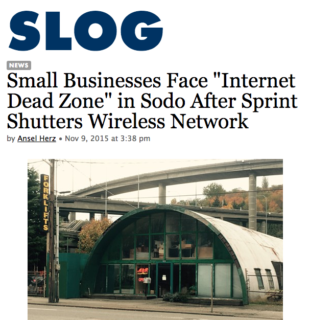 "At midnight on November 6, Sprint began disconnecting thousands of customers across from the country from its WiMax Internet network, which it's shutting down. That's left at least two Seattle small businesses in a virtual ""Internet dead zone,"" because their area of Sodo isn't serviced by CenturyLink or Comcast  (read more) ."