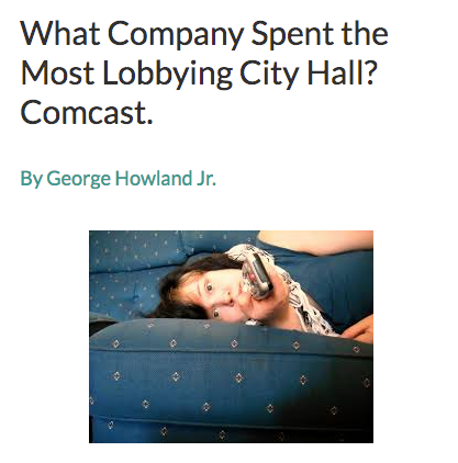 In 2016, Comcast was the company that spent the most money lobbying the city council: $98,000. The year before, the media giant spent $99,000 lobbying and won its second 10-year, cable-franchise agreement with support from Murray and the city council  (read more) .