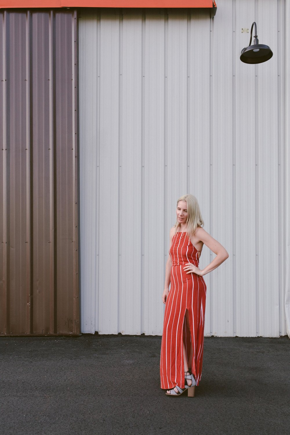 striped maxi dress terra-cotta