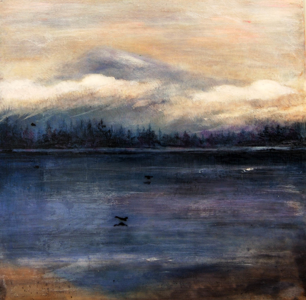 "Mt Baker Sunrise, Semiahmoo Retreat, WA, Mixed media on silk & wood, 2009 12"" x 12"" In private collection"
