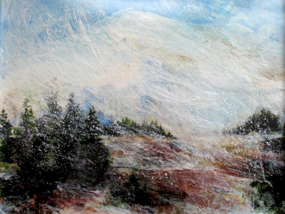Snow Flurries, Nisqually Vista, Mt Rainier, WA, Mixed media on bristol board, 2010 in private collection