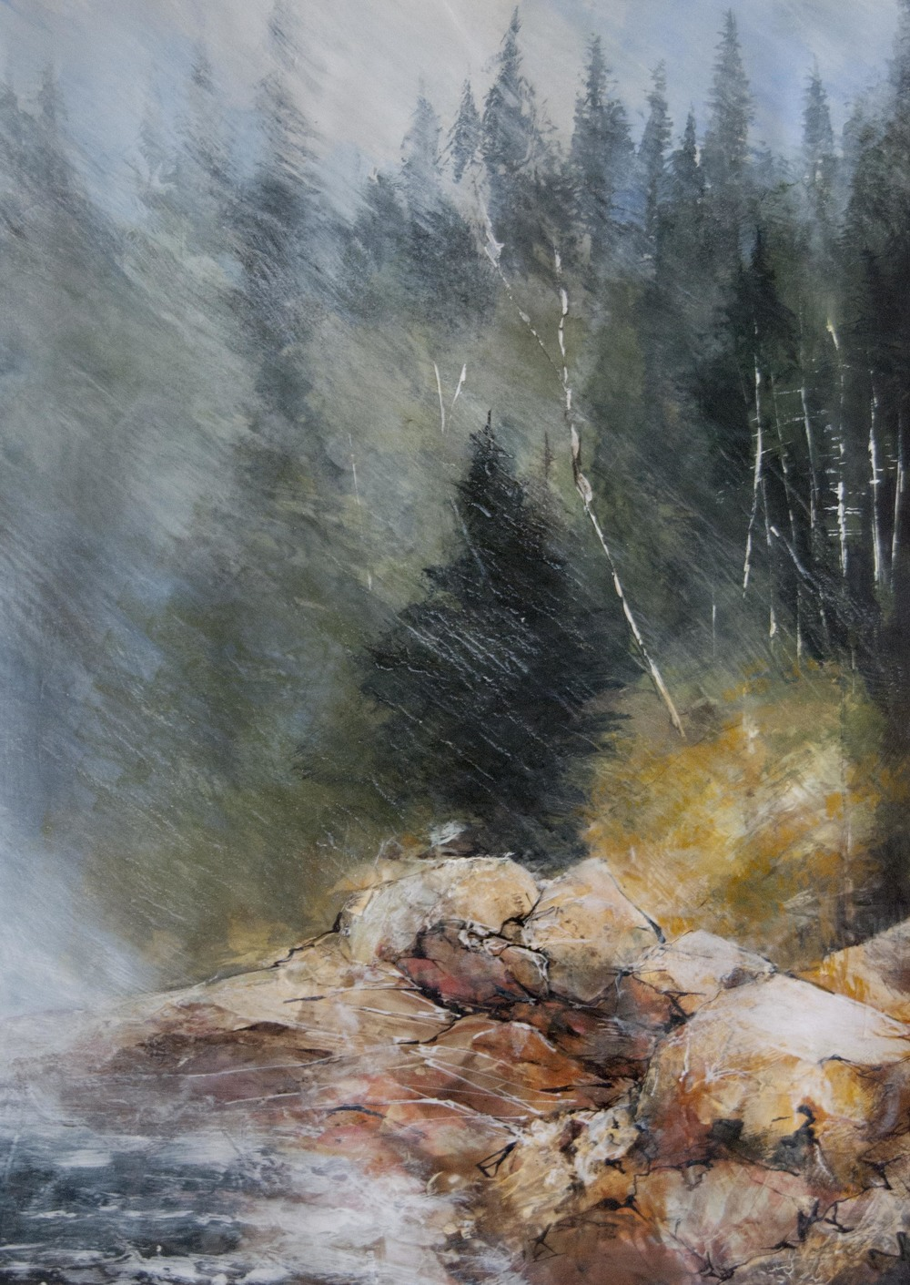 Advancing Fog, Otter Cliffs, Mt Desert ME, Watercolor, pencil and ink on paper with acrylic, 2014 in private collection