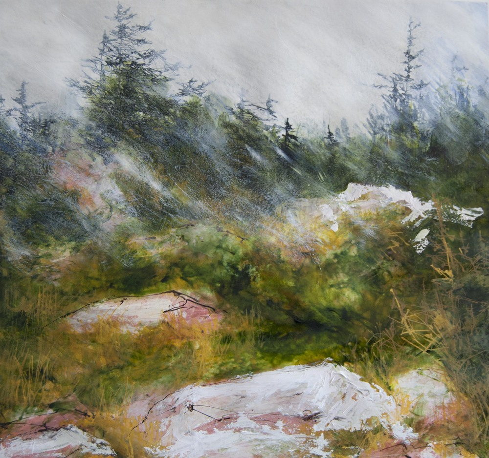 In the Woods, Schoodic ME, Watercolor, pen and ink with acrylic on paper, 2014 in private collection
