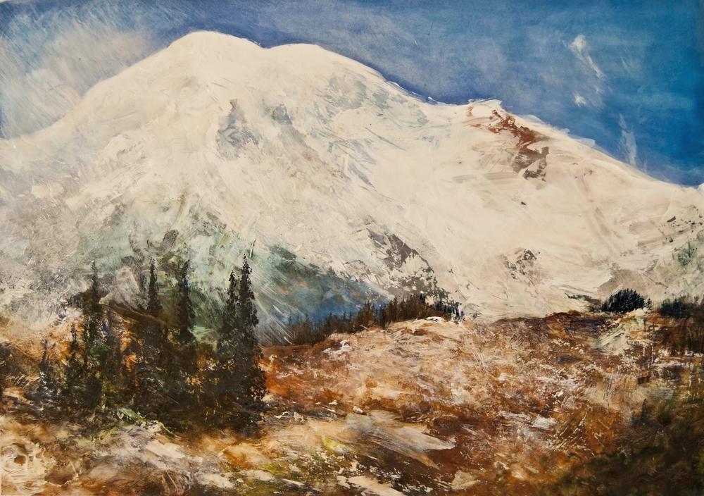 "Nisqually Vista, Paradise Park, Mt Rainier, WA, Mixed media on paper 35"" x 35"""