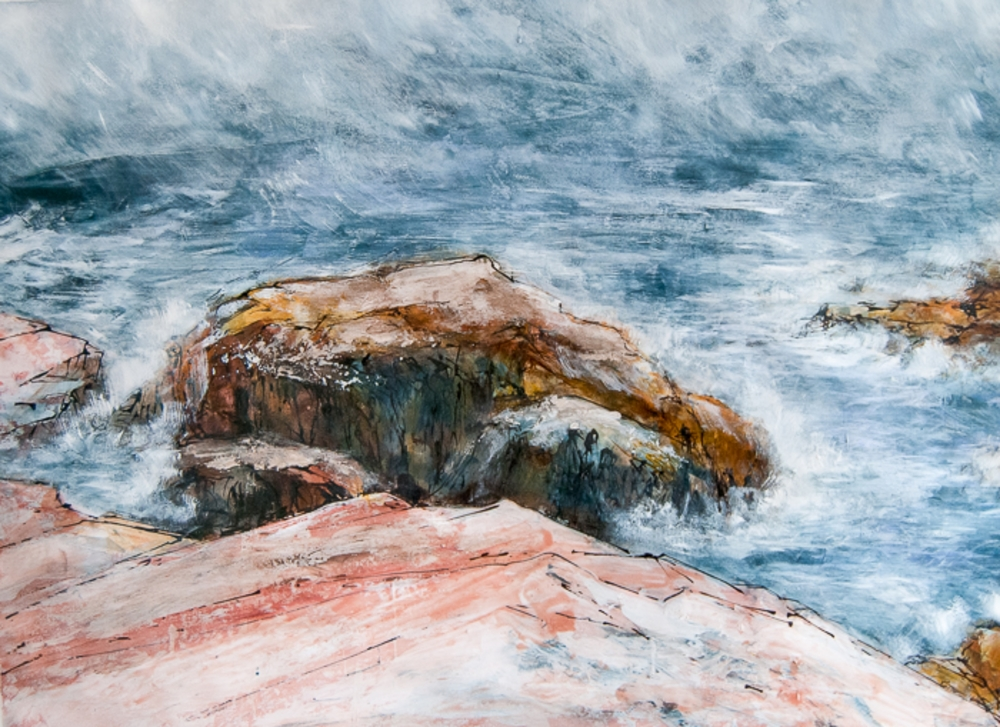 "Rock Tempest, Schoodic ME, Watercolor, pencil and ink with acrylic on paper, 2014 47"" x 33 1/4"""