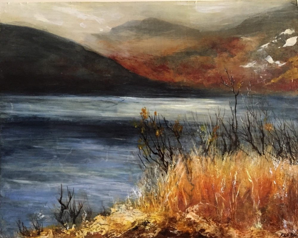 """Upriver, View from Cold Spring, NY, Mixed media and encaustic on silk stretched over wood panel, 16"""" x 20"""" 2016, In private collection"""