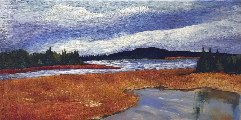 """Salt Marsh, Tremont, Mount Desert Island, ME, Embroidered cotton thread and ink on silk, 12"""" x 24"""" 2015-2016, In private collection"""