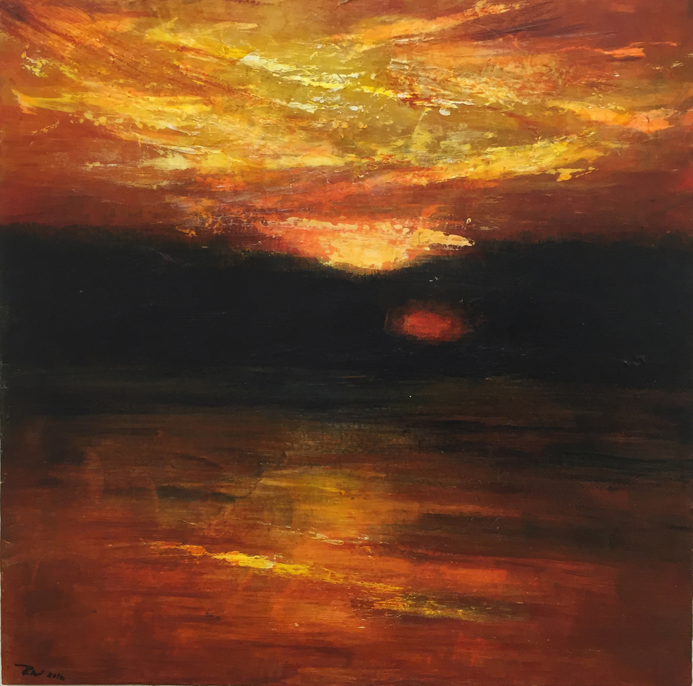 """Last Light, Hudson River, NY, Acrylic, pencil and ink on silk stretched over wood panel, 18"""" x 18"""" 2016, In private collection"""