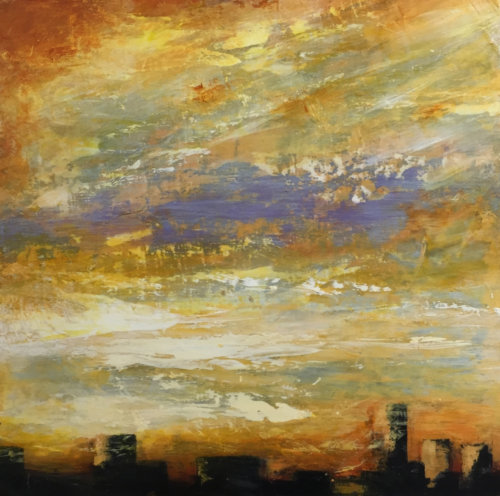 """Sunset over the Palisades, NY, Acrylic and pencil on silk stretched over wood panel, 18"""" x 18"""", 2016, In private collection"""