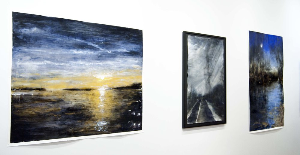 Artwork from left to right:  1 .  Rachel Whitlow :Moon Rising over Southwest Harbor, Mt Desert Island, ME,  2. Eleanor Goldstein : Off the Sawmill  3. Rachel Whitlow:  Moon Rising on the Brandywine River, Kennet SQ. PA