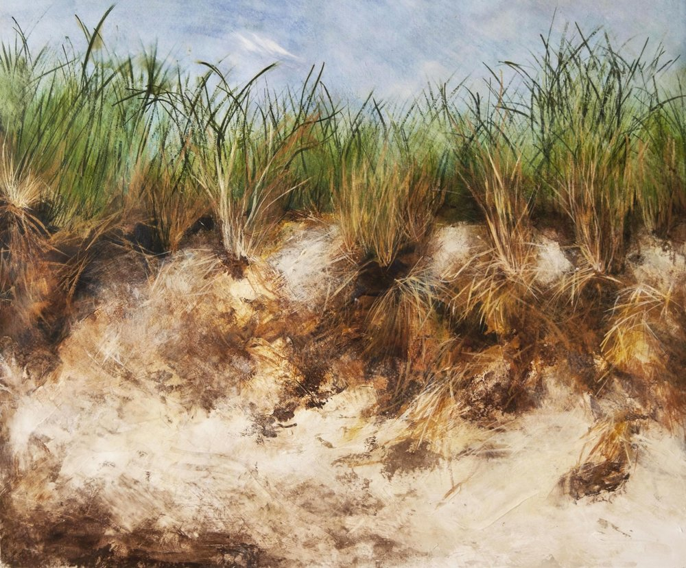 "Sand Dune, Southhampton, Mixed media on paper, 2010 33""x38"""