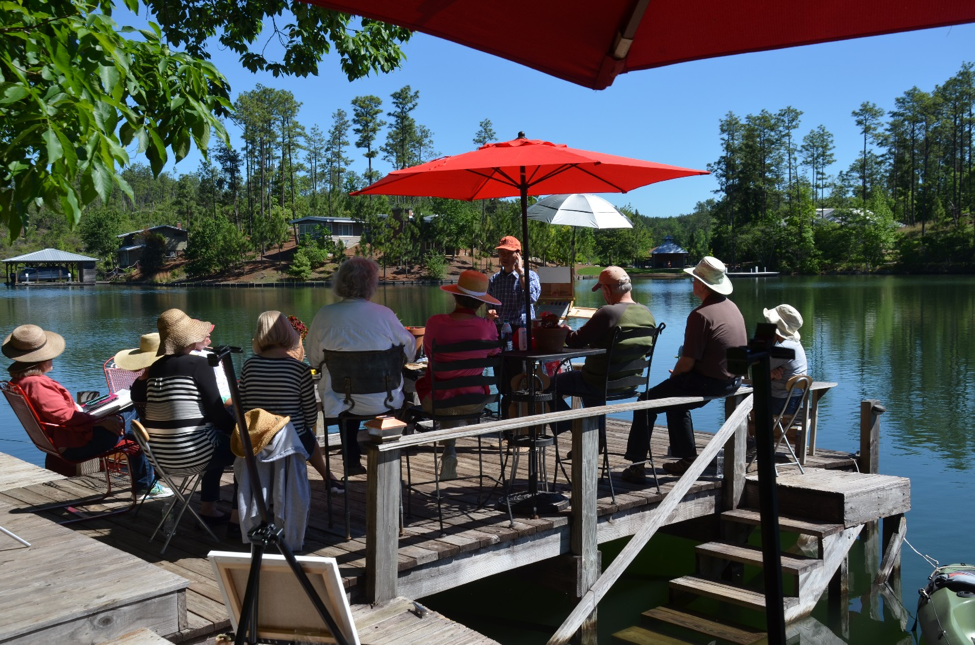 WORKSHOP: DAY ONE - We began this quiet May morning with breakfast on the Blue Heron porch. We then gathered on the dock where Qiang painted his first demo while thoughtfully and intuitively explaining not only how he creates his paintings, but also how we must think and feel as painters.