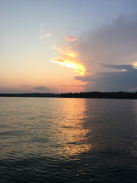 Colorful sunsets over the quiet waters of Lake Martin were a perfect end to each evening. -