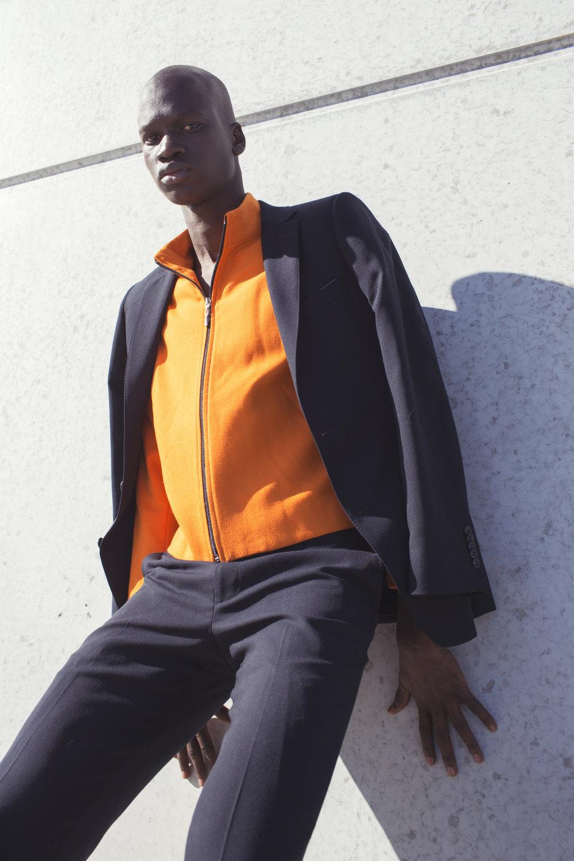 trousers & jacket   BELL & BARNETT ,  top   SWOP CLOTHING EXCHANGE ,  shoes   TOPMAN