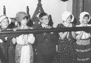 Children awaiting communion at Church of the Ascension, salida in 1987  Copyright © 1987 by Dick Dixon Printed by Master Printers, Salida Colorado. Typesetting and layout by author