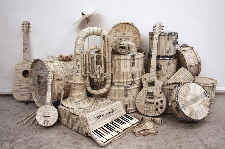 KyleBean-Music-manuscript-covered-instruments-paper-art.jpg