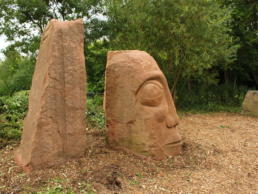 Hand-crafted stone sculpture at Coombes School, in 2010.