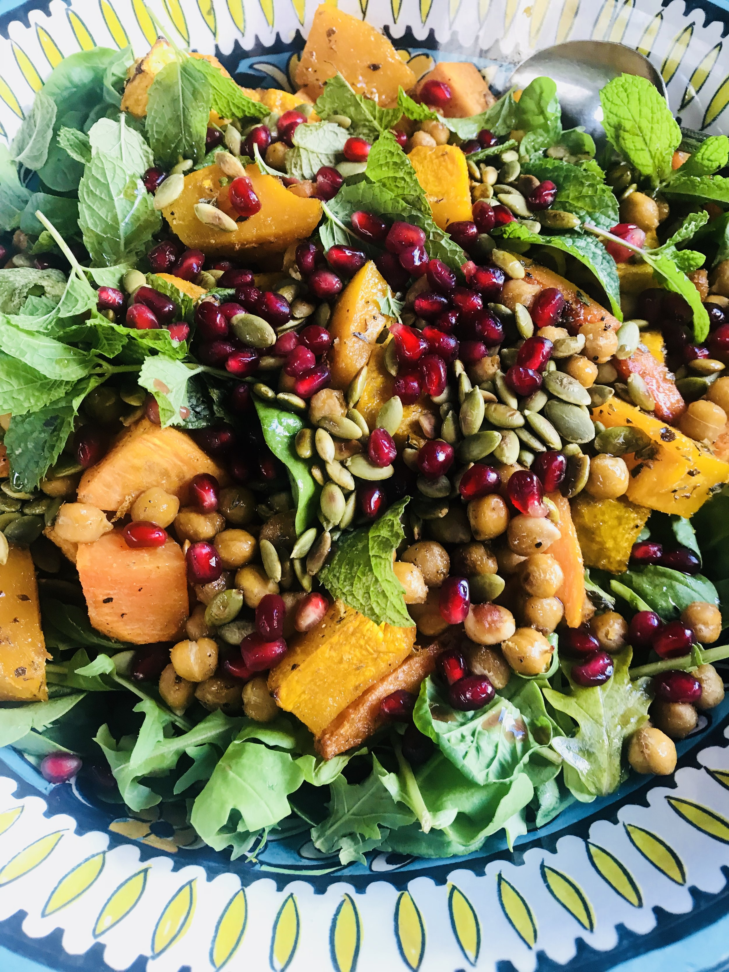 Roasted pumpkin salad with crispy chickpeas, pomegranate and