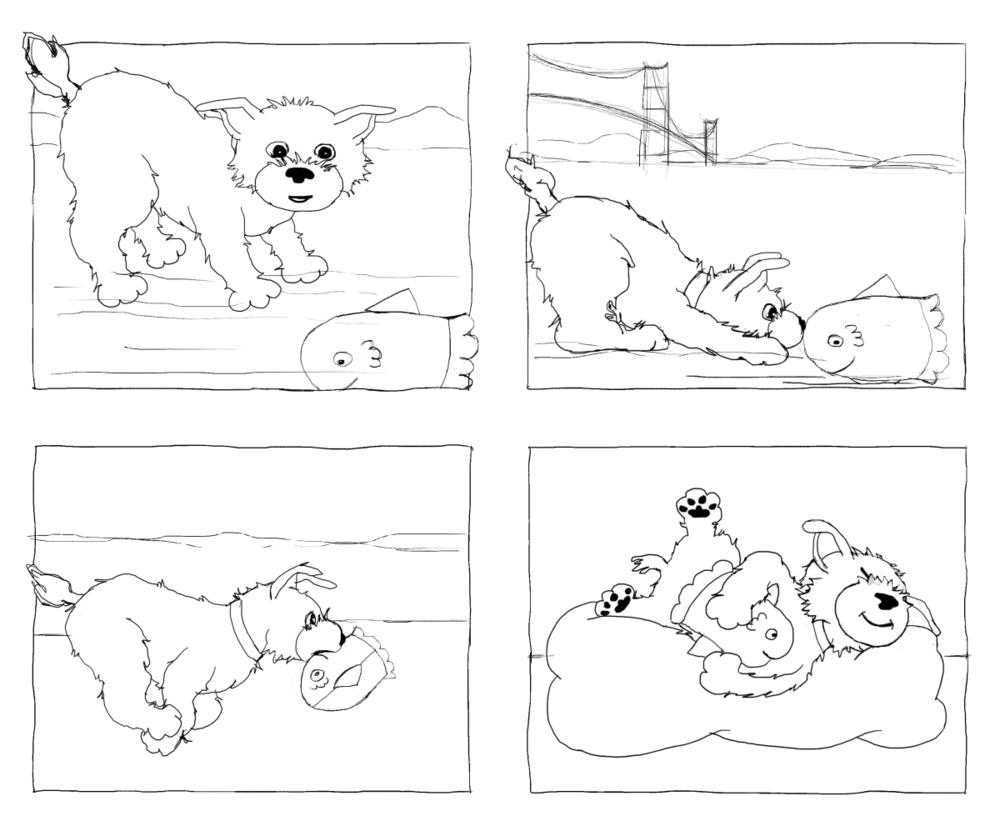 Woof Finding Sunny, Illustration by Elizabeth B Martin