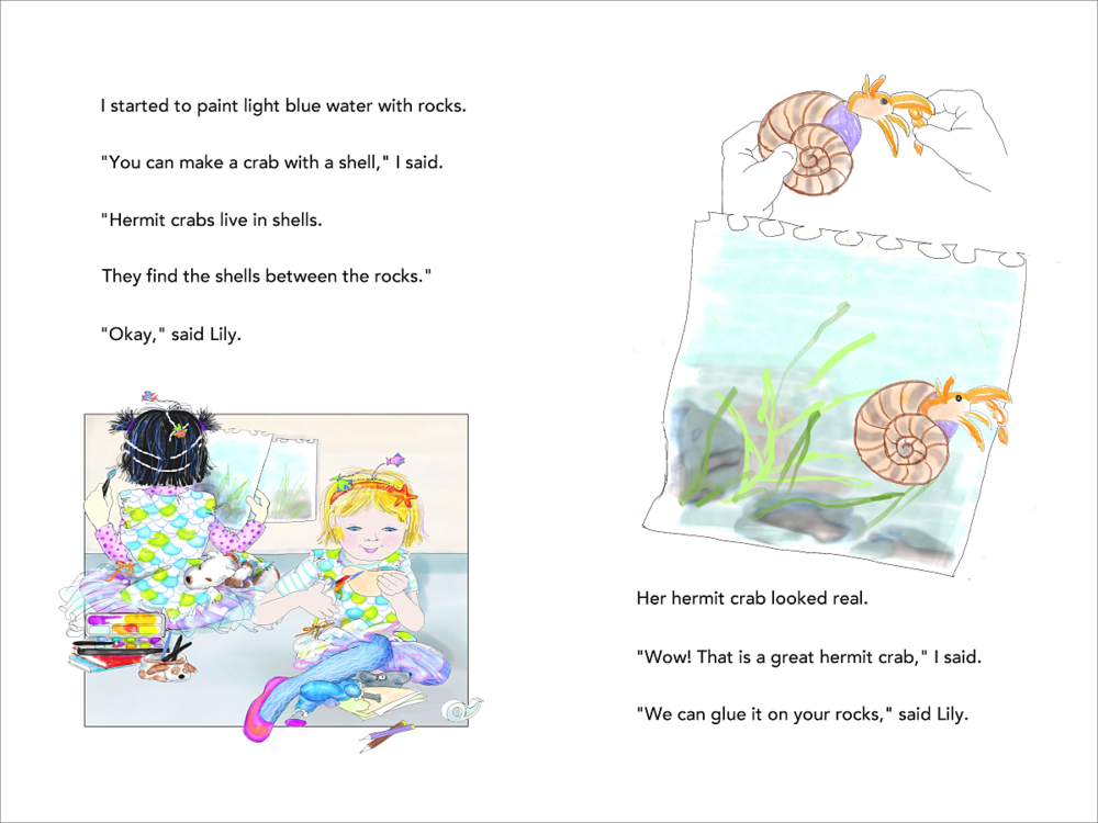Mermaid Superheroes p 22-23 hermit crabs