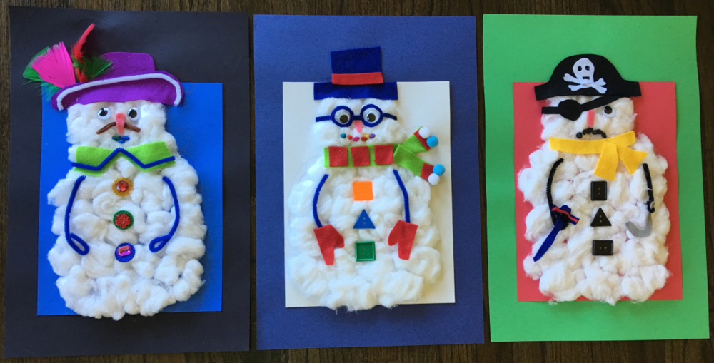 Samples of Elizabeth B Martin's Snowman Craft Project for the SF Public Library today!
