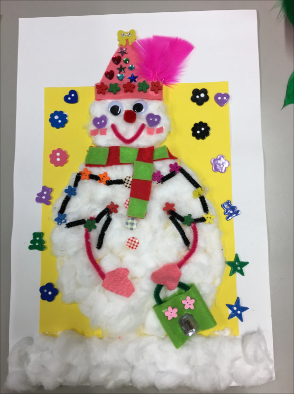 Pink Feather Snowman