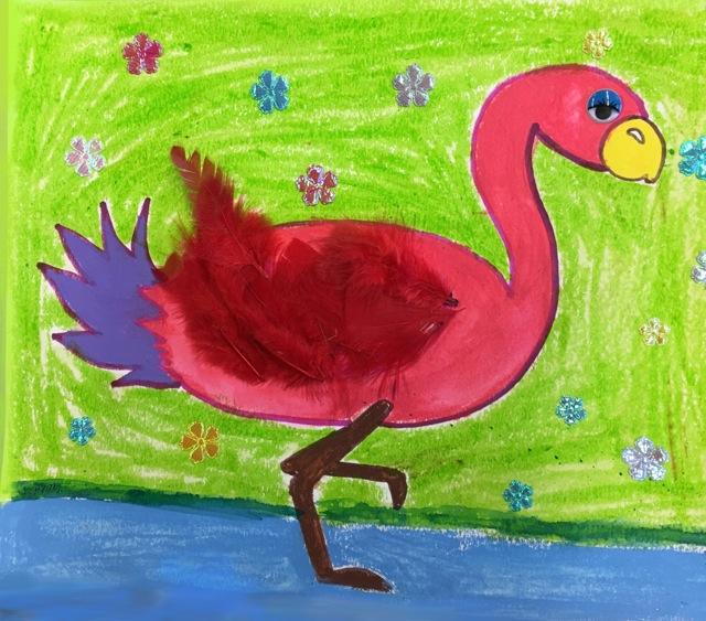 Flamingo Green Background